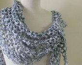 Shawl Ivory Grey Scarf Shawl Wrap Modern Chic Women Cowl Fashion Neckwarmer Crochet Trend READY TO SHIPPING
