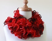 Scarves Ruffle Fashion Scarf /  Knitting Handmade / Gift For Her / Fall Winter Fashion READY TO SHIPPING