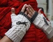 Cream Powder Taupe Fingerless Gloves Gift For Her NEW