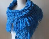 Crochet Shawl Blue Triangle Fringed Scarf Wrap Poncho Stole Holiday Fashion Spring Fashion READY TO SHIPPING