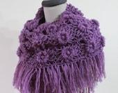 Shawl Purple Shawl FREE SHIPPING. Crochet Flower Shawl
