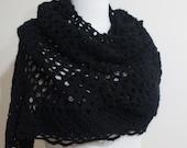 Sale Black Shawl Crochet Triangle Stole Wrap Scarf. Winter Accessories. Office Fashion