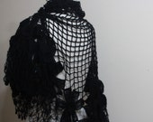 Black Shawl. Crochet Shawl. Triangle Stole Wrap Scarf Winter Accessories READY TO SHIPPING
