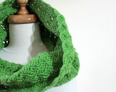 Green Crochet Infinity Cowl. Fingerless / Gloves / Mittens, Fall Trend. Hand Knit For Her Winter Fashion Holiday Accessories. St Patricks