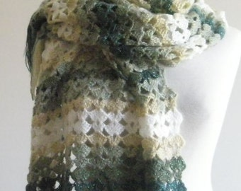 Shawl Scarf Was 55 Now 39 Green Shawl Hand Crocheted Multicolor Rectangle
