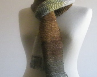 Knitting Colorful Scarf Hand Knitted Wrap Green Brown Caramel Grey Very Soft READY TO SHIPPING