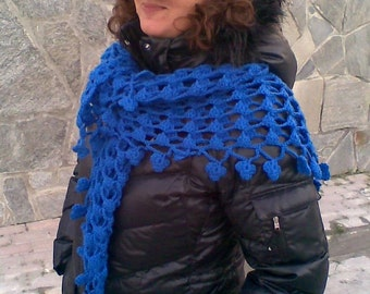 Shawl Sale  Saphire Blue Crochet Triangle Scarf Shawl Cyber Monday Black Friday READY TO SHIPPING