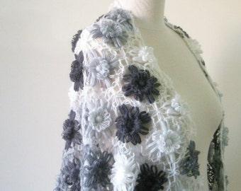 Shawl Grey Ivory Floral Shawl Soft Triangle Wrap Scarf Stole winter fashion. READY TO SHIPPING
