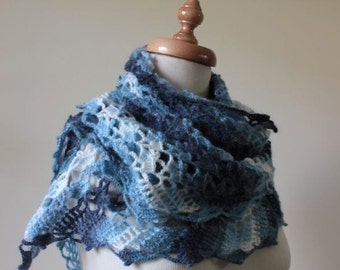 Shawl Blue Colors Ivory Triangle Shawl Very Soft and Chic Stole Scarf  Clothing & Accessories READY TO SHIPPING