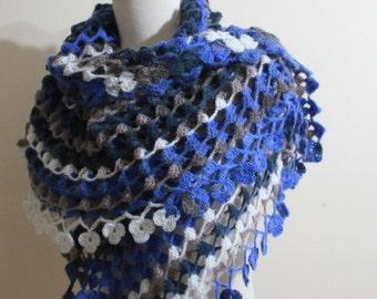 Beautiful Shawl Blue Colors winter fashion. READY TO SHIPPING