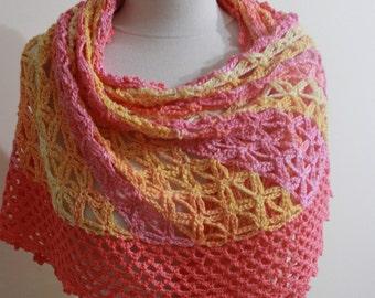 Lace Colorful Shawl Capelet Spring Fashion Fall Wedding Shawl, Orange Yellow Pink Pomegranate Beautiful Crochet Poncho Spring Fashion