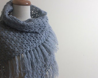 GREY Shawl, Crochet Scarf, Triangle Wrap - Chic Winter Fashion Gift for Women