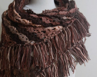 Shawl Hand Crocheted Crochet Colorful Shawl Fringe Christmas Gift For Her NEW Brown Tones Winter Fall Fashion