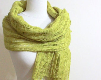 Knitting Shawl RECTANGLE Yellow Green Knitting Cool Scarf Wrap Mohair Acrylic Stole Gift For Her Spring Fashion