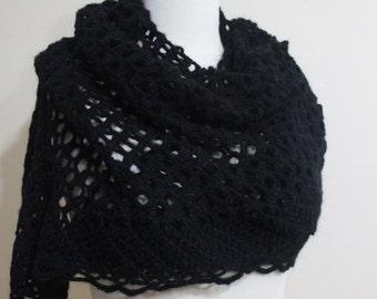 Sale Black Shawl Crochet Triangle Stole Wrap Scarf. Winter Accessories.