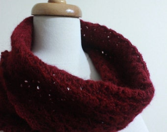 Chunky Burgundy Cowl and Gloves Crochet Winter Fashion Women Trend For Her Holiday READY TO SHIPPING