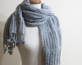 Women Scarf Shawl RECTANGLE Grey Knitting Cool Scarf Wrap Mohair Acrylic Stole Gift For Her Spring Fashion