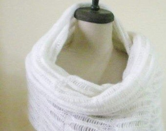 Shawl Wedding White Knitting Ivory Shawl Shrug  RECTANGLE Elegant Scarf  Wrap Stole Gift Poncho