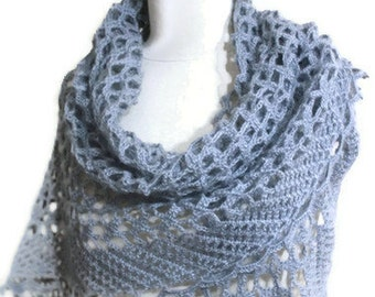 Shawl Grey Mohair Shawl Crochet Triangle Stole Wrap Scarf winter fashion. READY TO SHIPPING