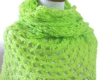 SALE EXPRESS DELIVERY - Crochet Shawl.Lace Shawl. Lime Green, Spring Scarf,  Shimmery Soft Stole -
