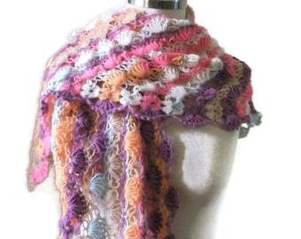 Shawl / Colorful Crochet Stole / Scarf Triangle Handmade Shrug READY TO SHIPPING