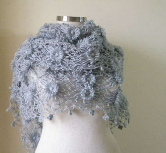 EXPRESS DELIVERY, Grey Love Shawl Triangle Beautiful Soft Scarf Modern Gift For Her / .