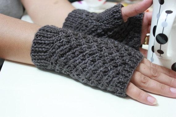 Winter Accessories Taupe  Fingerless Gloves Gift For Her NEW