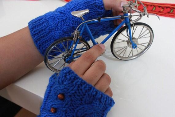 NEW Sapphire Blue  Fingerless Gloves Cobalt Fresh