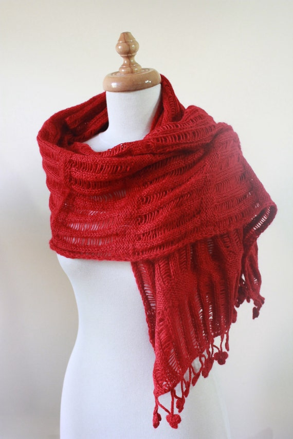 EXPRESS DELIVERY, Shawl RECTANGLE Red Knitting Cool Shawl New