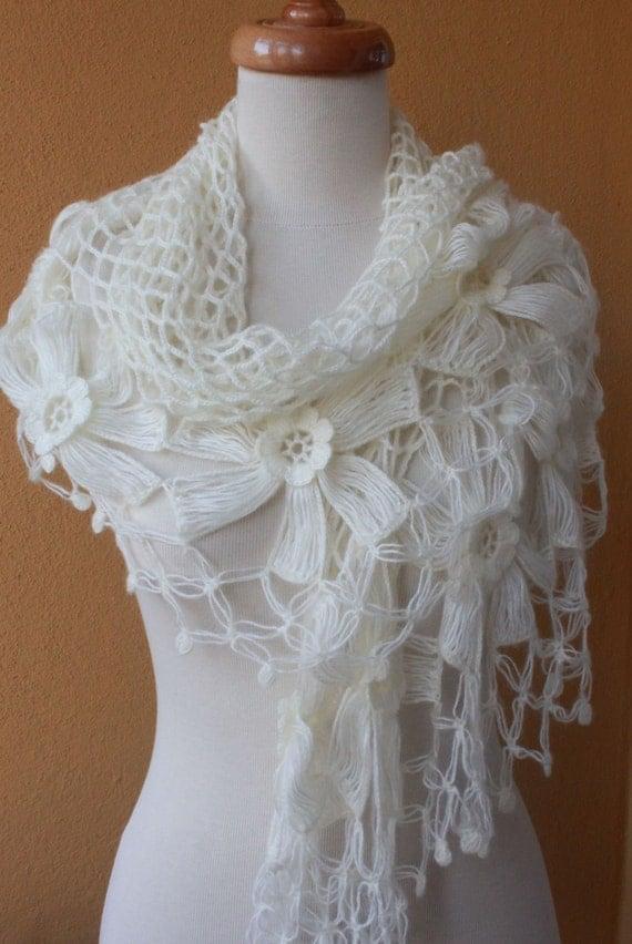 Crochet Lace Wedding Shawl Pattern : Handmade Spark - filofashion - Shawl Wedding. Ivory Shawl ...