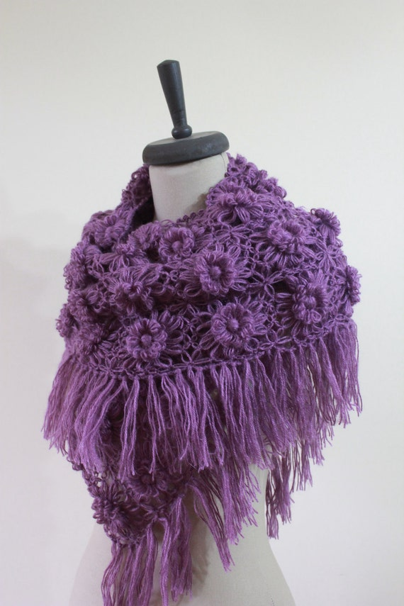 Shawl Purple Shawl FREE SHIPPING. Crochet Flower Shawl