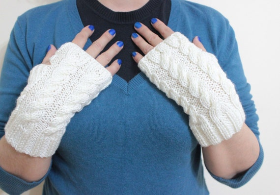 EXPRESS DELIVERY, Ivory Fingerless Gloves Gift For Her NEW winter fashion.  Winter Accessories Holiday Trends For Women For You