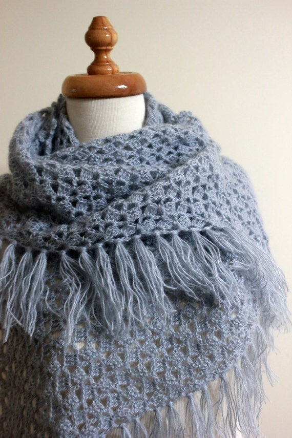 Winter Accessories EXPRESS DELIVERY Shawl GREY Crochet Shawl Crochet Scarf Triangle Wrap Chic