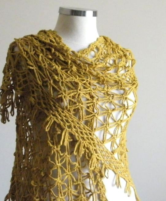 Free Crochet Shawl Patterns For Spring : Spring Summer Shawl Mustard Crochet Hand Crocheted Amber