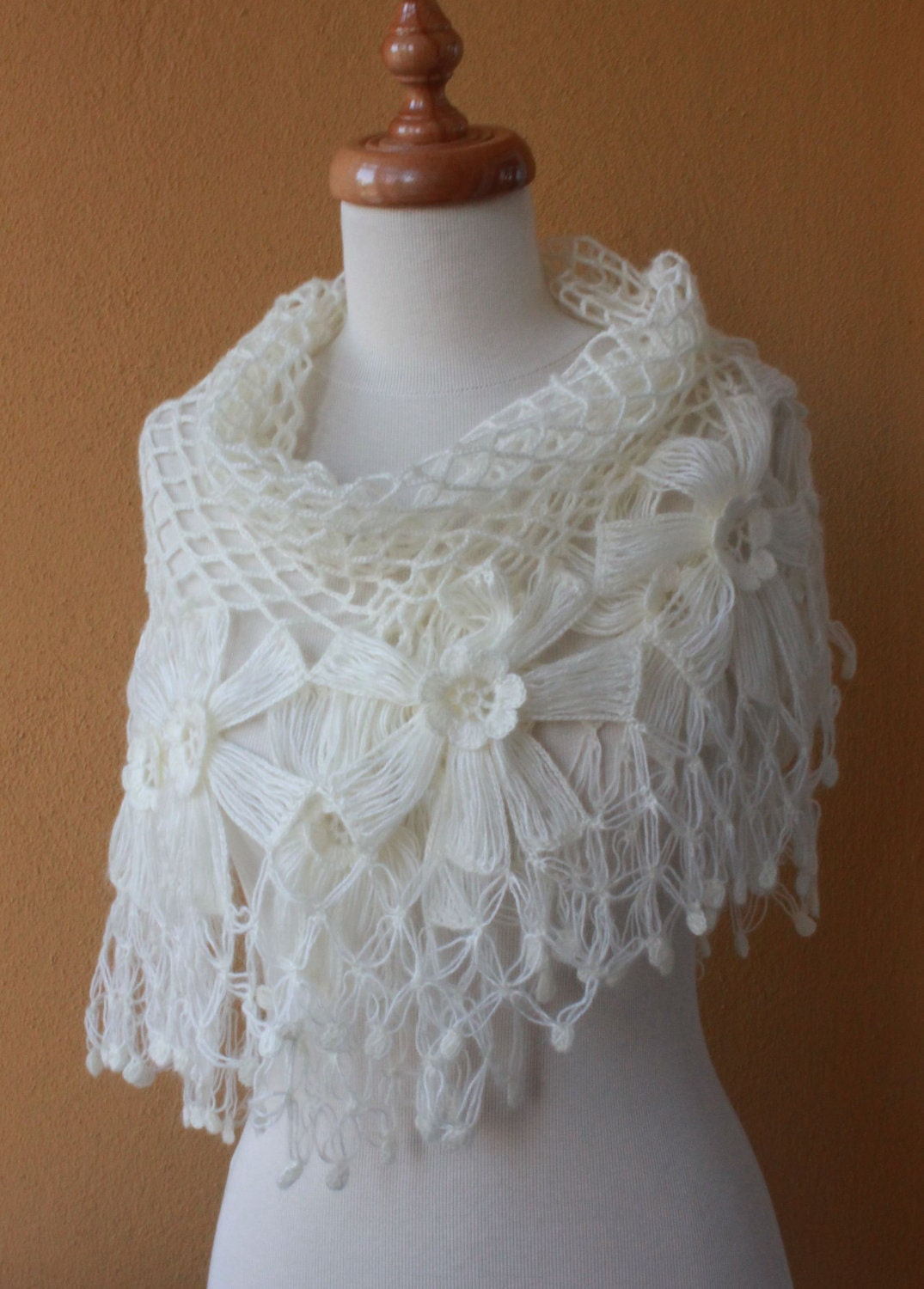 Crochet Lace Wedding Shawl Pattern : Shawl Wedding. Ivory Shawl. Crochet Shawl. TRIANGLE FLOWER ...