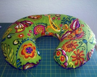 "Nursing Pillow Cover Butterfly Folklorico fabric with cuddly ""minky"" style back"