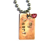 my heart Hand Stamped Necklace