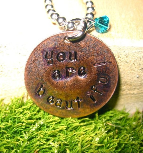 You Are Beautiful hand stamped necklace