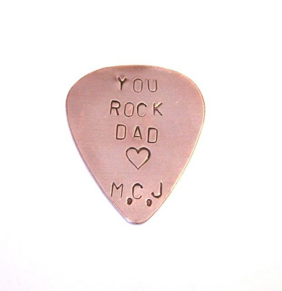 YOU ROCK DAD  with initials hand stamped guitar pick
