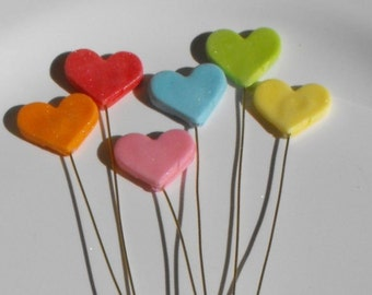 Mini Hearts Sticks Fondant Cupcake Toppers or Cake Decorations