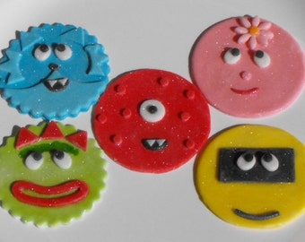 Monster Characters Fondant Cupcake Toppers