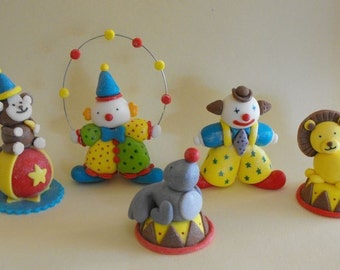 Edible Circus Clowns and Animals Cake Toppers