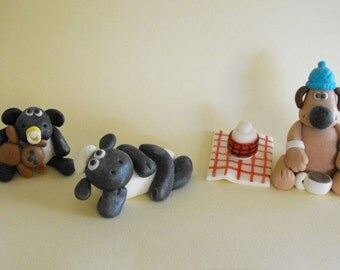 Sheep and the Dog Picnic Cake Toppers