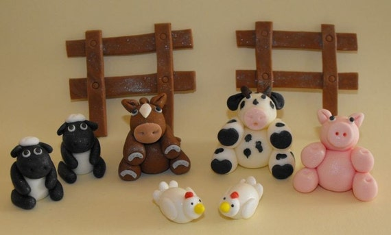 Farm Animals Cupcake or Cake Toppers - set of 9