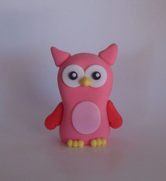 Pink Owl Cake Topper