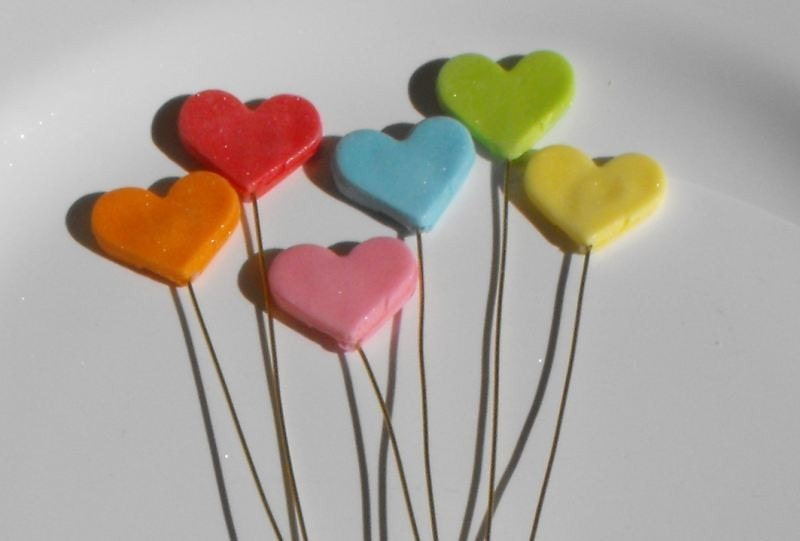Cake Decoration Sticks : Mini Hearts Sticks Fondant Cupcake Toppers or Cake Decorations