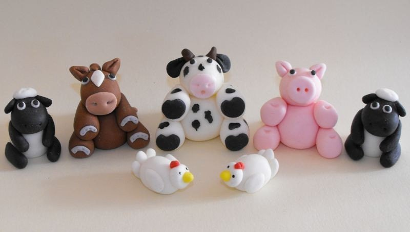 Cake Decorations Farm Animals : Farm Animals Cupcake or Cake Toppers set of 7
