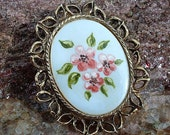 Vintage Brooch Pin Pendant Flowers Gold Tone Floral  Pink Clasp Handpainted