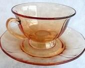 RESERVED for BarbJean94. Glass Fostoria Depression Pink Rose Tea Cup Saucer Fairfax Pattern Vintage