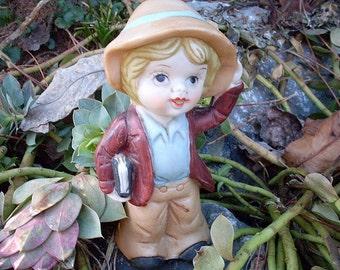 Little Boy Ceramic Figurine Vintage Nanco Taiwan Garden Art Pottery Child